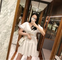 Dress Summer of 2019 White, gray, black Average size Short skirt singleton  Short sleeve Sweet V-neck High waist Solid color zipper A-line skirt puff sleeve 18-24 years old Type X Hollowed out, pleated, pleated, open back 91% (inclusive) - 95% (inclusive) other cotton