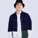shirt Fashion City JUSTOVERBROKE 170/84A,175/88A,180/92A navy blue thick Pointed collar (regular) Long sleeves standard daily Four seasons J0003 youth Cotton 100% tide 2019 other Plaid Edge grinding cotton Splicing Soft Gloss  More than 95%