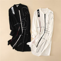 Dress Spring 2021 White, black XS,S,M,L,XL Long sleeves Loose waist Single breasted raglan sleeve foreign trade