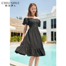Dress Summer 2021 Black (4.29 pre sale) S M L XL Mid length dress Short sleeve One word collar High waist Solid color Socket A-line skirt routine 25-29 years old Type A thinking of an old acquaintance on seeing a familiar scene Three dimensional decoration of bow chain fold 61207DS02A446 Chiffon