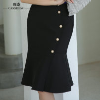 skirt Summer 2020 S M L XL XXL XXXL White black Mid length dress commute High waist other Solid color 35-39 years old More than 95% Can Sheng polyester fiber Korean version Polyester 100% Pure e-commerce (online only)