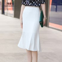skirt Spring 2021 S M L XL XXL XXXL 4XL Black and white Mid length dress commute High waist A-line skirt Solid color Type A 40-49 years old CNYN1075 More than 95% Can Sheng polyester fiber Korean version Polyester 96 . thirty %  Polyurethane elastic fiber ( spandex ) three . seventy %