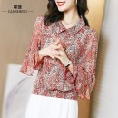 Lace / Chiffon Spring 2021 Retro pattern on red background retro pattern on black background S M L XL XXL XXXL Long sleeves commute Socket singleton  Straight cylinder Regular Doll Collar Decor routine 35-39 years old Can Sheng CSSZ2151 Korean version 96% and above 100.00% polyester polyester fiber