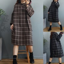Dress Winter 2020 Gag, Hagrid Average size Mid length dress singleton  Long sleeves commute stand collar Loose waist lattice Single breasted Type H Retro Button hemp