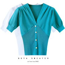 T-shirt Peacock blue, black, white S,M,L Summer 2020 Short sleeve V-neck Self cultivation have cash less than that is registered in the accounts puff sleeve commute other 51% (inclusive) - 70% (inclusive) Korean version originality Solid color Stitching, buttons, threads, folds