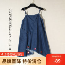 Dress Summer 2020 Blue, white XS,S,M singleton  Sleeveless commute 18-24 years old Other / other Korean version More than 95% cotton