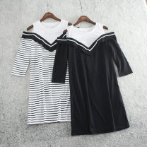 Dress Spring of 2019 Black, white stripe 155,160,165 Middle-skirt singleton  elbow sleeve commute Crew neck middle-waisted stripe Socket other routine straps Type A Other / other Korean version G5756 51% (inclusive) - 70% (inclusive) other