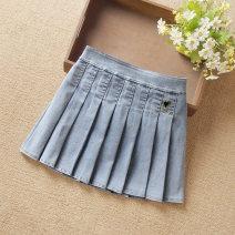 skirt 90cm,100cm,110cm,120cm,130cm,140cm,150cm,160cm Other / other female Polyester 70% Cotton 30% spring and autumn Miniskirt Korean version Solid color Pleats Denim Class B
