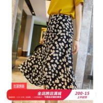 skirt Summer 2020 S,M,L,XL,2XL Daisy Mid length dress Versatile High waist A-line skirt Decor Type A Q3002 More than 95% Crepe de Chine silk zipper