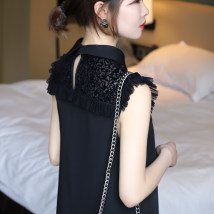 Dress Autumn of 2018 black S M L Middle-skirt singleton  Sleeveless commute tailored collar zipper Pencil skirt other Others Type A Simplicity Flocking stitching three thousand six hundred and twenty-four polyester fiber