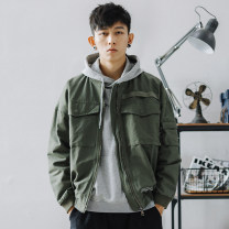 Jacket Other / other Youth fashion Black jacket, green jacket M,L,XL,2XL,3XL routine easy Other leisure spring Hj41 printed tooling jacket Long sleeves Wear out Baseball collar tide teenagers routine Zipper placket 2020 Rubber band hem washing Closing sleeve other More than two bags) Cover patch bag