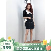 Dress Spring 2021 black S is about 105 Jin, M is about 115 Jin, l is about 130 Jin Mid length dress singleton  elbow sleeve commute Crew neck middle-waisted Solid color double-breasted other routine Others 25-29 years old BodhlCat Britain Gouhua, hollowed out, pocket, button NY28C More than 95% other