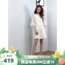 Dress Spring 2021 milky white Mid length dress singleton  three quarter sleeve commute Crew neck middle-waisted Solid color Socket other routine Others 25-29 years old BodhlCat Britain zipper More than 95% other Cellulose acetate
