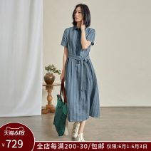 Dress Summer 2021 Grey blue stripe XS S M L XL longuette singleton  Short sleeve commute other middle-waisted stripe Single breasted routine 30-34 years old Q.TU literature Frenulum LQ2878 More than 95% hemp Flax 100% Pure e-commerce (online only)
