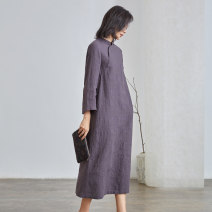 Dress Spring 2021 Gray purple XS S M L XL longuette singleton  three quarter sleeve commute stand collar Loose waist Solid color other routine 25-29 years old Q.TU literature pocket LQ2820 More than 95% hemp Hemp (hemp) 100% Pure e-commerce (online only)