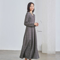 Dress Spring 2021 Ash purple XS S M L XL longuette singleton  Long sleeves commute V-neck middle-waisted Solid color Single breasted A-line skirt routine 25-29 years old Type A Q.TU literature pocket LQ2793 30% and below hemp Flax 30% cotton 20% other 50% Pure e-commerce (online only)