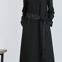 Belt / belt / chain cloth black female belt ethnic style Single loop Youth, middle age and old age 7.5cm Embroidery Q.TU P026 183cm Winter 2021