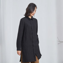shirt black XS S M L XL Spring 2021 Viscose 31% (inclusive) - 50% (inclusive) Long sleeves commute Medium length other Single row multi button routine other 25-29 years old Straight cylinder Q.TU literature W2780 Viscose 48% flax 37% cotton 15% Pure e-commerce (online only) Cotton and hemp