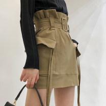 skirt Summer 2020 S, M khaki Middle-skirt Versatile High waist skirt Type A