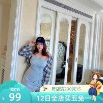 Women's large Summer 2020 Grey suspender skirt, plaid sunscreen shirt Large XL, large XXL, large XXL, large XXXXL, large L, large M Dress commute Long sleeves Korean version routine R1539 MCR 18-24 years old Medium length
