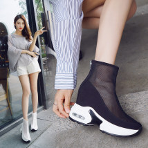 Boots 34 35 36 37 38 39 Black autumn winter white autumn winter white black Mesh Other / other High heel (5-8cm) Muffin bottom Multi material splicing
