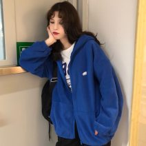 Sweater / sweater Winter of 2018 Blue, black, gray, pink Average size Long sleeves routine Cardigan singleton  thickening Hood easy commute routine Cartoon animation 18-24 years old Korean version Embroidery, pocket, zipper zipper