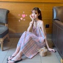 Dress Summer 2020 Apricot, pink Average size Mid length dress singleton  Sleeveless Sweet square neck Loose waist lattice Single breasted A-line skirt camisole 18-24 years old Type A Button, lace up solar system