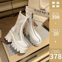 Boots 34,35,36,37,38,39 White, black, pay attention to the shop and get 5 coupons Double skin mulching mr.abu Super high heel (over 8cm) Muffin bottom Double skin mulching Short tube Round head Pig skin No interior Summer 2021 Front zipper Europe and America polyurethane Solid color Cool boots summer