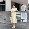 Dress Spring 2021 Cream yellow (including vest) XXS,XS,S,M Mid length dress Two piece set elbow sleeve commute Crew neck High waist Solid color other A-line skirt other Type A Simplicity other