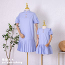 Parent child fashion wathet Women's dress female Grape girl 90cm, 100cm, 110cm, 120cm, 130cm, 140cm, 150cm, 160cm, mom s, mom m, mom L, mom XL, mom XXL, mom 3XL, mom 4XL, mom 5XL summer fresh Thin money Solid color skirt cotton Cotton 85% others 15% other Chinese Mainland