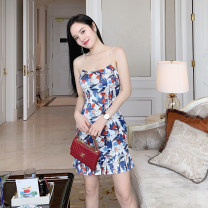 Dress Summer of 2019 Printed blue 85 length in stock, printed blue 102 length in stock S (with pads), m (with pads), l (with pads) Mid length dress singleton  High waist zipper camisole Sihuang Pleating SH2D201 More than 95% Silk and satin polyester fiber