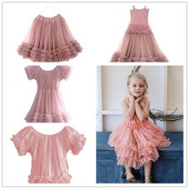 Dress female DOLLY by Le Petit Tom (0-1y)<92cm,(1-3y)92-98cm,(4-6y)98-122cm,(6-8y)122-134cm,(8-12y)134-152cm,(12y+)152-170+cm Polyamide fiber (nylon) 100% summer Europe and America Short sleeve Solid color nylon Pleats Frill Series 1 Class A