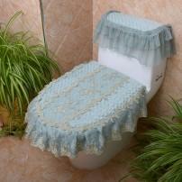 Toilet cover / seat ring Blue silk skirt