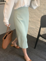 skirt Summer 2021 S,M,L Light green, blue Mid length dress commute High waist Suit skirt Solid color Type H 25-29 years old 31% (inclusive) - 50% (inclusive) zipper Korean version