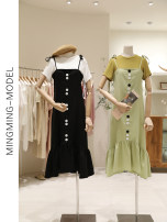 Dress Summer of 2019 Black, green S, M longuette singleton  Sleeveless commute One word collar Loose waist other Socket other camisole 18-24 years old Other / other Korean version Zipper, button, Ruffle 31% (inclusive) - 50% (inclusive) other other