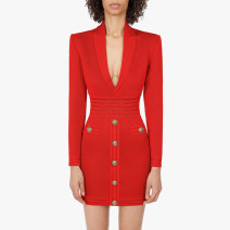 Dress Autumn 2020 Red, black S,M,L,XL Middle-skirt singleton  Long sleeves Sweet tailored collar middle-waisted Solid color zipper One pace skirt routine Others 25-29 years old Type X Rivets, cutouts, buttons, zippers 81% (inclusive) - 90% (inclusive) other other Ruili