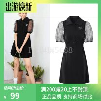 Dress Summer 2021 black S,M,L,XL Mid length dress singleton  Short sleeve Sweet V-neck middle-waisted Solid color Socket routine 25-29 years old Type H A8FAB213289 51% (inclusive) - 70% (inclusive) other