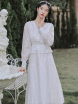 Dress Spring 2021 white S,M,L longuette singleton  Long sleeves commute V-neck High waist Solid color zipper Big swing bishop sleeve Type A Other / other lady Embroider, nail bead