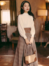 Fashion suit Summer 2021 S,M,L,XL White top + plaid skirt Other / other 31% (inclusive) - 50% (inclusive)
