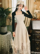 Dress Summer 2021 Picture color S,M,L longuette Fake two pieces Long sleeves commute square neck High waist other zipper A-line skirt routine Type A Other / other Retro Splicing