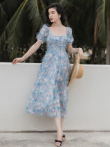 Dress Summer 2021 Blue flowers S,M,L Mid length dress singleton  Short sleeve commute square neck High waist Broken flowers zipper A-line skirt puff sleeve Type A Retro