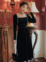 Dress Spring 2021 black S,M,L longuette singleton  Long sleeves commute square neck High waist Solid color zipper A-line skirt Type A Other / other Retro Lace up, stitching