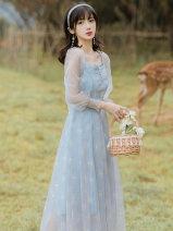 Dress Summer 2021 blue S,M,L longuette singleton  Long sleeves commute square neck High waist zipper A-line skirt pagoda sleeve Type A lady Splicing