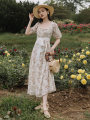 Dress Summer 2021 Broken flowers S,M,L Mid length dress singleton  Short sleeve commute square neck High waist Broken flowers zipper A-line skirt puff sleeve Type A lady Embroidery, lace, stitching, lace