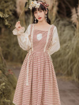 Dress Spring 2021 Picture color S,M,L longuette singleton  Long sleeves commute square neck High waist lattice zipper Big swing Others Type A Other / other court Auricularia auricula, lace up, stitching