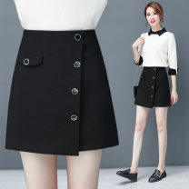 skirt Spring 2020 26/S,27/M,28/L,29/XL,30/2XL,31/3XL black Short skirt commute High waist A-line skirt Solid color Type A 25-29 years old 2057 KCIL Other / other Pocket, button, zipper, stitching Korean version
