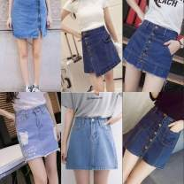 skirt Summer 2020 Average size Wholesale from 10 in quantity, 20 in quantity, 30 in quantity, 50 in quantity, 100 in quantity and 1000 in quantity Short skirt Versatile Natural waist Denim skirt Solid color 18-24 years old 30% and below Denim polyester fiber