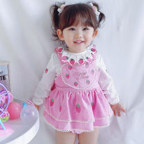 Dress Single strawberry pheasant skirt, strawberry pheasant skirt + Strawberry bottom shirt female Other / other 80cm,100cm,110cm Cotton 100% spring and autumn princess Skirt / vest Cartoon animation cotton Pleats Class B 9 months, 18 months, 2 years, 3 years, 4 years, 5 years Chinese Mainland