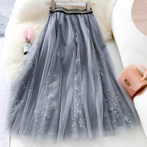 skirt Winter 2020 Average size Mid length dress commute Natural waist Pleated skirt Solid color Type A W08117 71% (inclusive) - 80% (inclusive) Lace Other / other polyester fiber Korean version
