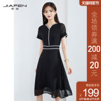 Dress Summer 2020 black S M L XL Mid length dress singleton  Short sleeve commute V-neck middle-waisted other other One pace skirt routine Others 25-29 years old Jiafen Ol style More than 95% polyester fiber Polyester 100% Pure e-commerce (online only)